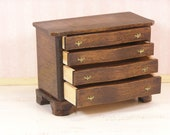 Dollhouse Miniature One Inch Scale Chest of Drawers with Solid Brass Hardware