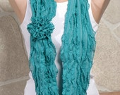 Ruffles SCARF. Frilly Scarf. Turquoise autumn scarf. Loop scarf, infinity scarf, loop scarf.
