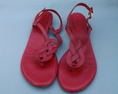 Vintage Red Leather Flat Sandals // Cole Haan  // 8