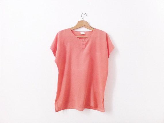 Vintage Silk blouse, peach / salmon size L