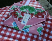 Pink Strawberries Gingham Reusable Sandwich / Snack Wrap - Large