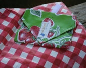 Green Strawberries Gingham Reusable Sandwich / Snack Wrap