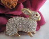 Reserved for Susan. Vintage Rhinestone Bunny Rabbit Brooch