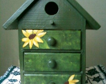 Hand Painted Sunflower Birdhouse trinket or jewelry box