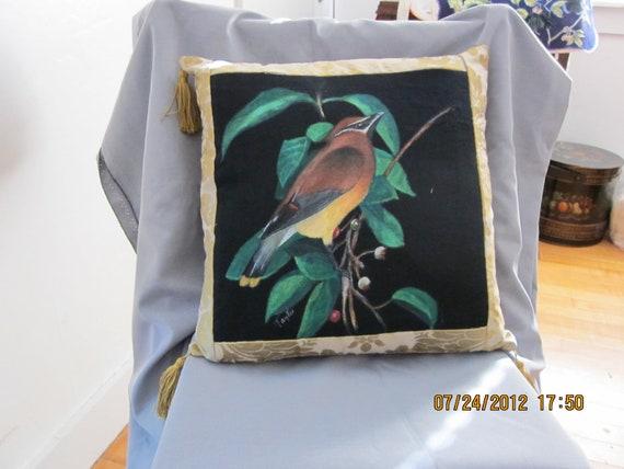 Cedar Waxwing Fine Art Pillow
