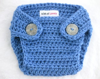 Baby Blue Crochet Diaper Cover - YOUR choice size - (newborn - 24 months) - photo prop - children