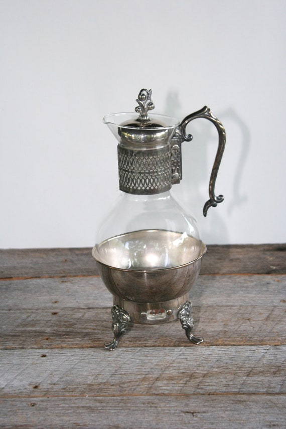 Vintage Silverplate and Glass Coffee or Tea Carafe with Electric Warmer