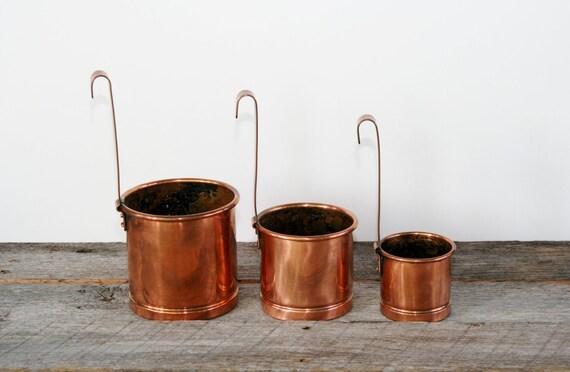 Vintage Copper Ladles/Dippers Graduated Set of 3