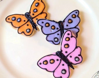 Butterflies Sugar Cookie Cut Outs Iced Decorated Butterfly Cookie Pink Purple Orange