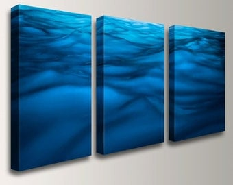 Water Wall Decor awesome ideas water wall art inspiring cool background amazing wonderful splendid tremendous excellent Blue Wall Art Water Photography Three Panel Art Canvas Triptych Beach Decor