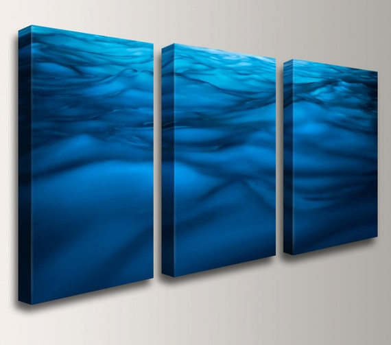 "Blue Wall Art, Water Photography, Three Panel Art - Canvas Triptych, Beach Decor - Nautical Art, Ocean Print  - "" Liquid """