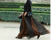Coffee Black Skirt  fashon skirts Long Skirts Chiffon Skirt