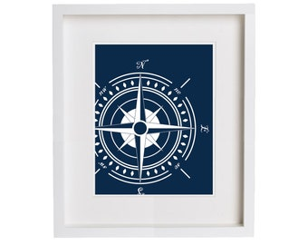 Navy Wall Art - Northeast Nautical Compass Print