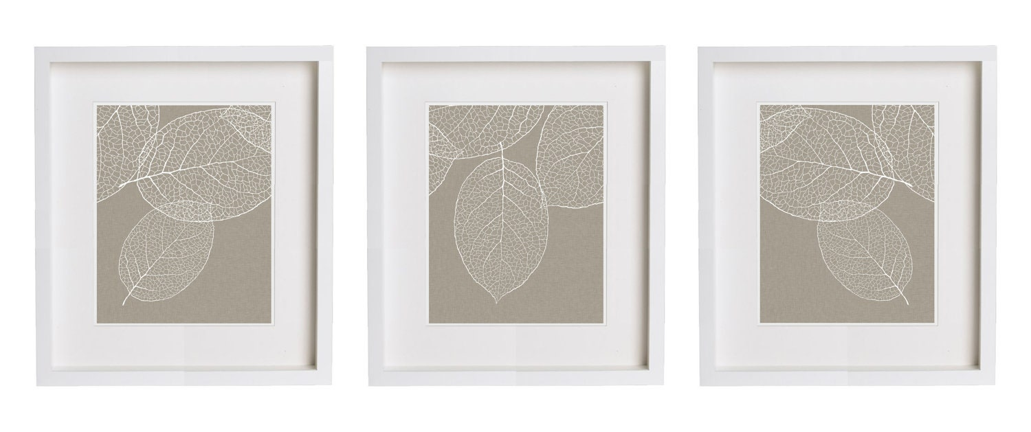 West Elm Leaf Print Gray Taupe Wall Art - Set of Three Prints