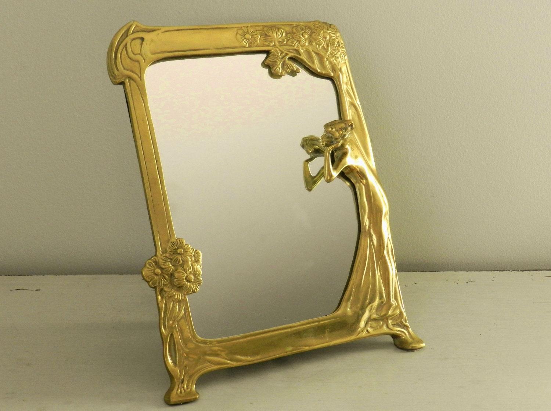 Vintage Brass Framed Mirror Table Vanity Art Nouveau Style