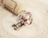 RESERVED FOR MLEA1203 Wine Cork Keychain Vintage Key - Pearly Pink and Purple Cluster with Rhinestones