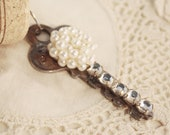RESERVED FOR MLEA1203 Wine Cork Keychain Vintage Key - Pearl Cluster and Rhinestone Chain