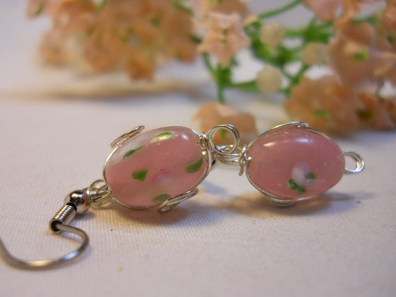 Lampwork Earrings Pink Wire Wrapped