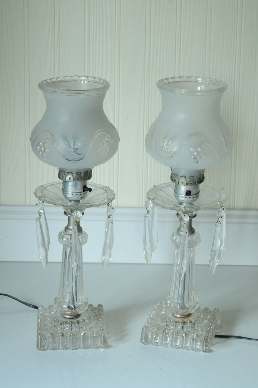 Antique Crystal Lamps Antique Crystal Dresser Lamps Candlewick