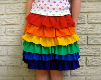 Upcycled Ruffle Rainbow Skittles Skirt