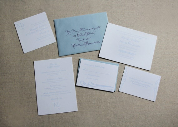 Wave Light Blue Wedding Invitation Sample Letterpress