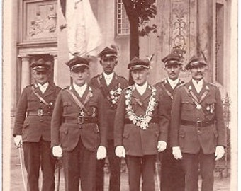 Vintage Photo early 1900s Europe - Military Men with Medals - Sepia Real Photograph Postcard rppc