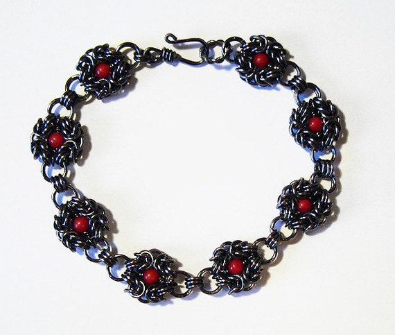 Black Widow - Hematite and Red Bamboo Coral Chainmaille Bracelet