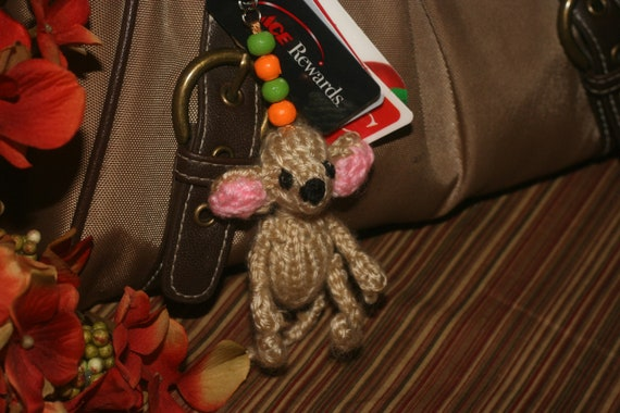Knitted Mouse KeyChain Charm or zipper pull - Miniature Mouse doll with beads and attatchment ring