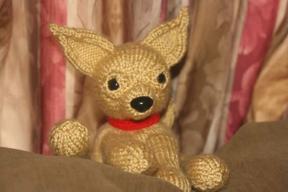 Knitted Chihuahua Doll - Tan Knit Amigurumi Toy - Dog - Puppy