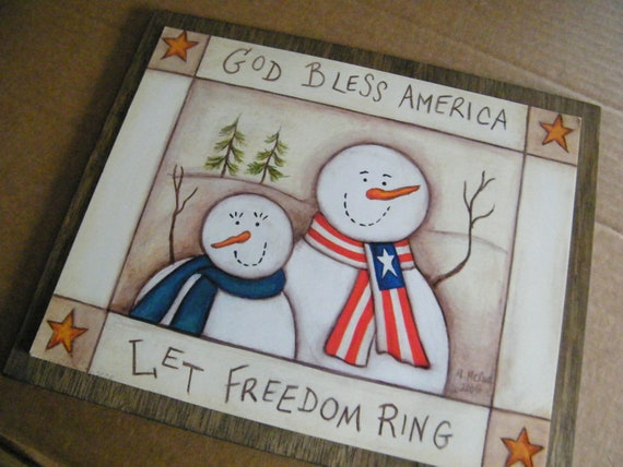 Primitive Christmas Wall Decor : Items similar to country primitive wood americana snowman