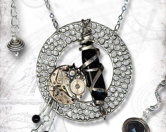 Abstractions in Time Steampunk Necklace by Za Dee Da - The Time Traveller Collection - Dark Matter