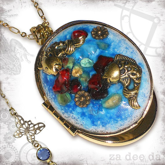 koi Pond Enamel Locket by Za Dee Da - The Mad Scientist Collection