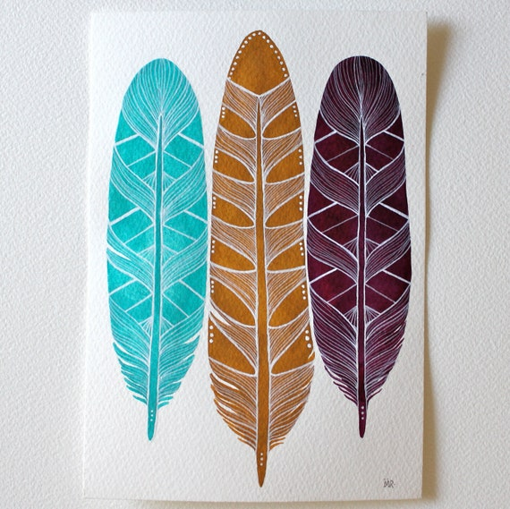Original Feather Painting - Watercolor Art - Paloma Feathers by Marisa Redondo