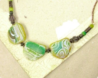 Copper Yellow Green Fire Necklace