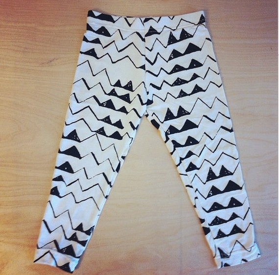 Hand Printed Mountain Leggings in Black on Creme