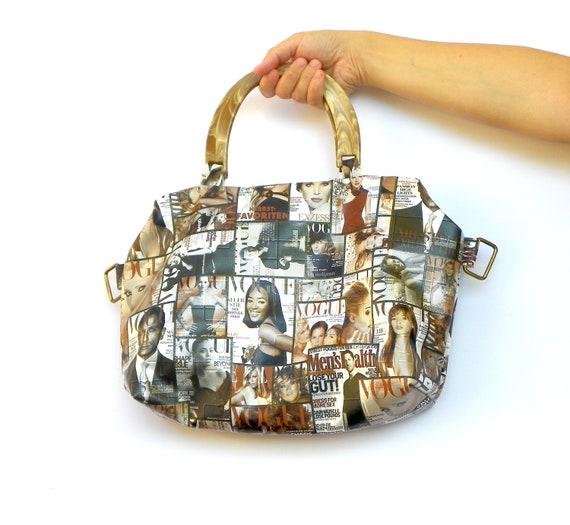 Golden Hobo Bag, Beige Brown Vogue Bag, Fall Fashion Handbag