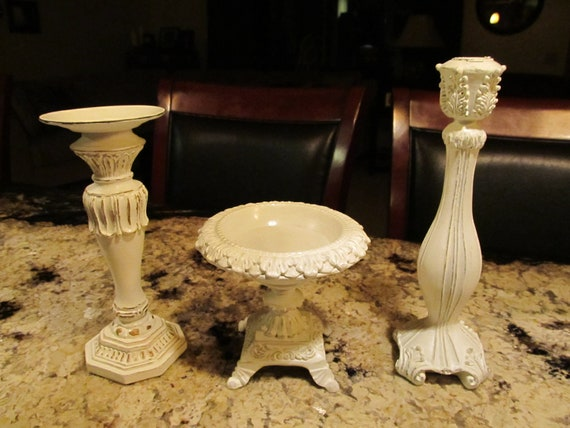 Three Piece Set Ornate Shabby Chic Taper/Pillar Candle Holders Antique White