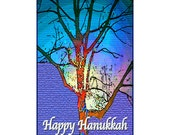 Tree Art Greeting Card - From My Original Photograph - Happy Hanukkah or All Occasion Nature, Rainbow Card, Art Card