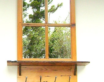 Window Wall Mirror in VG Fir with Shelf and Antique Spike Hangers-SPECIAL ORDER
