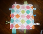 RESERVED for Nina A. Argyle Baby Crinkle Square with Squeaker
