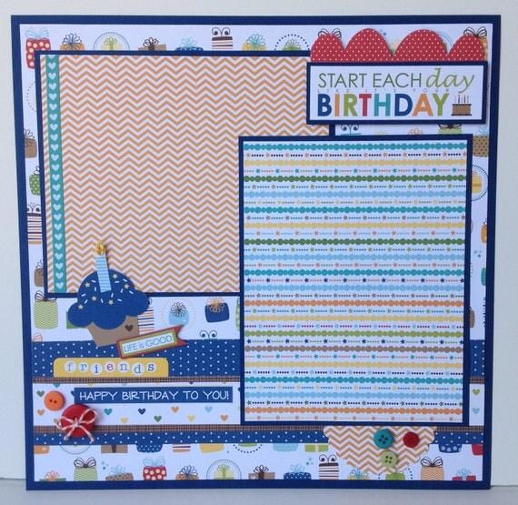 12x12 Scrapbook Page Birthday Boy