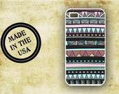 Tribal Iphone 4 case - Aztec tribal pattern with Tiffany blue - Iphone 4s cover, Iphone 5 case (9897)