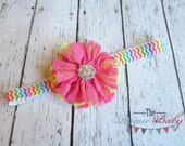 Chevron Headband  Hot Pink with Lime Green Lace Flower- Newborn Infant Baby Toddler Girls Adult