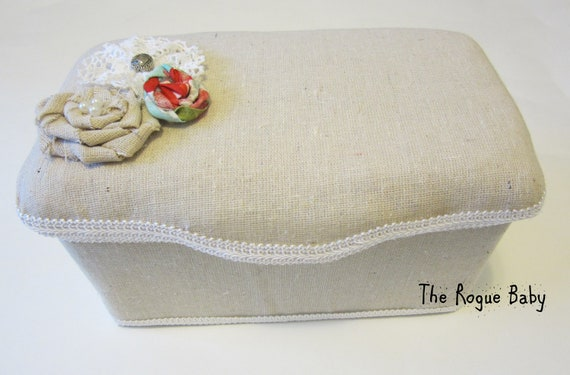 Custom Nursery Diapers Wipes Case - Shabby Chic Linen / Burlap  with Pearl Rosette & Vintage Lace - Storage container Baby