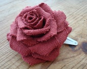 Red rustic cotton rose hairclip