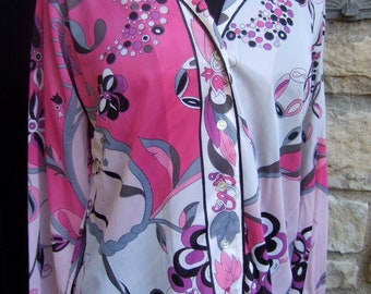 EMILIO PUCCI Psychedelic Floral Print Nylon Blouse for Form Fit Rogers