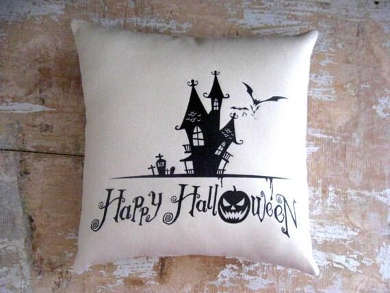 Halloween Pillow, Haunted House, Bats, Pumpkin, Halloween Silhouette, Home Decor, Housewares, Decorative Pillow