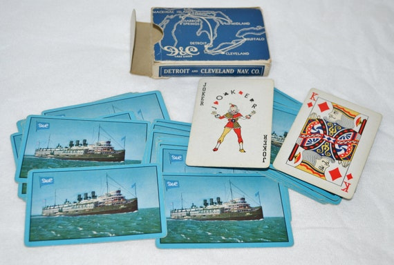 vintage playing cards poker bridge game ship boat liner Detroit and Cleveland  D & C Lake Lines Souvenir Memorabilia USA Sailing Travel