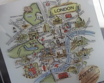Vintage Chance Glass Square Dish With Map of London