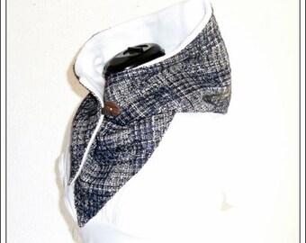 Hooded scarf - wool blue/Brown/cream